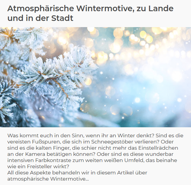 Atmosphärische Wintermotive
